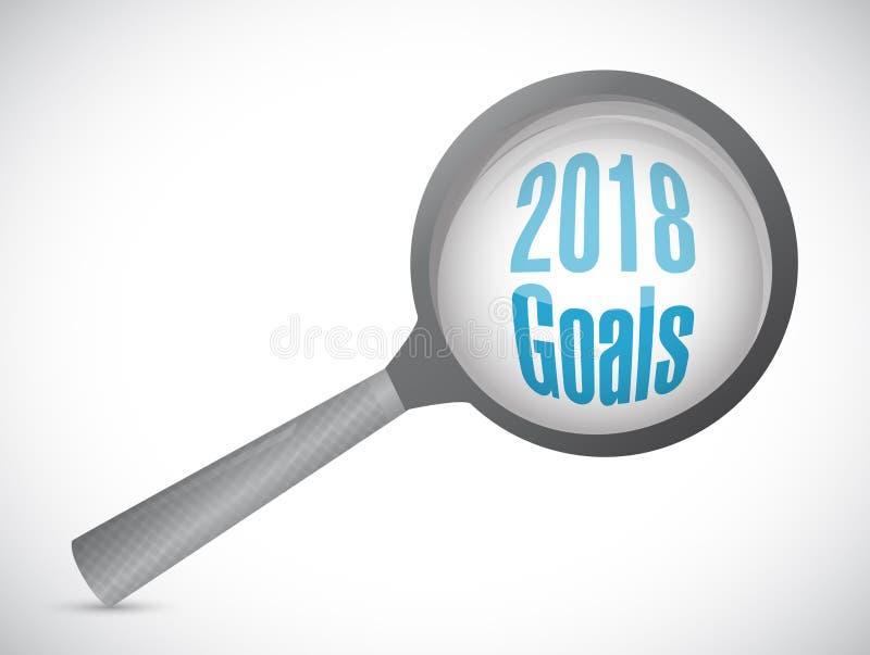 les buts 2018 magnifient l'illustration en verre de signe illustration stock
