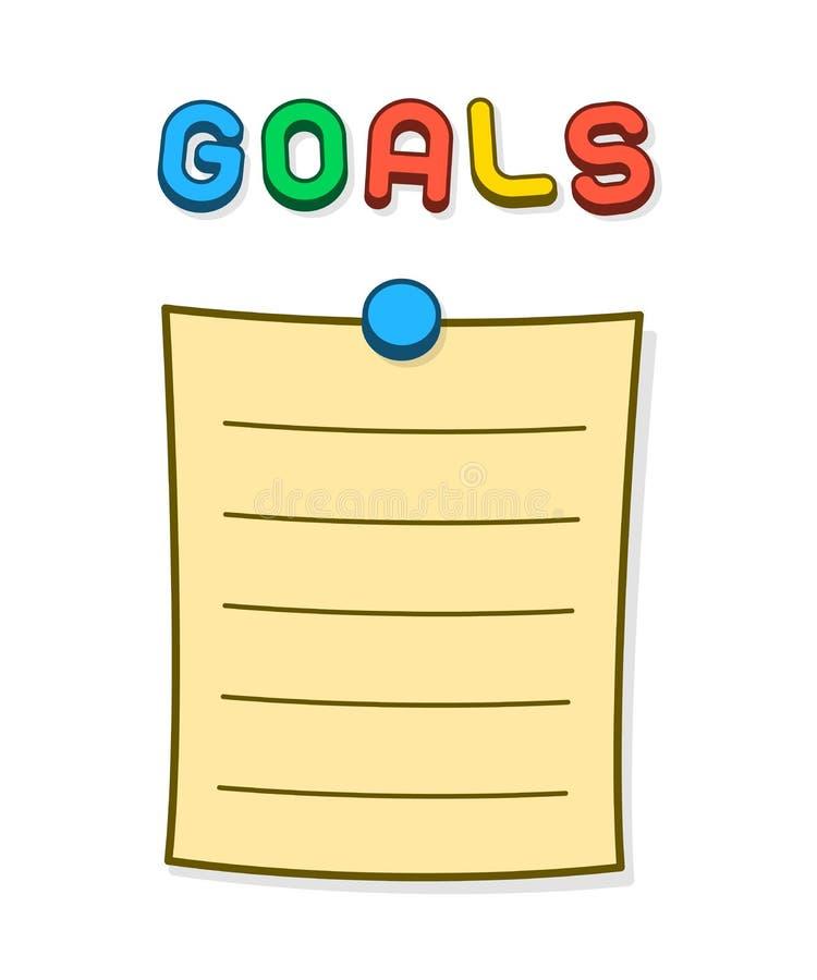 Les buts masquent la liste avec la pointe de pouce et la lettre d'aimant illustration stock