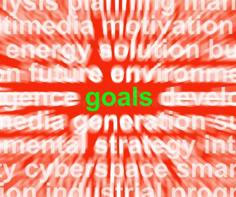 Les buts Word signifie des cibles et des aspirations d'objectifs illustration de vecteur