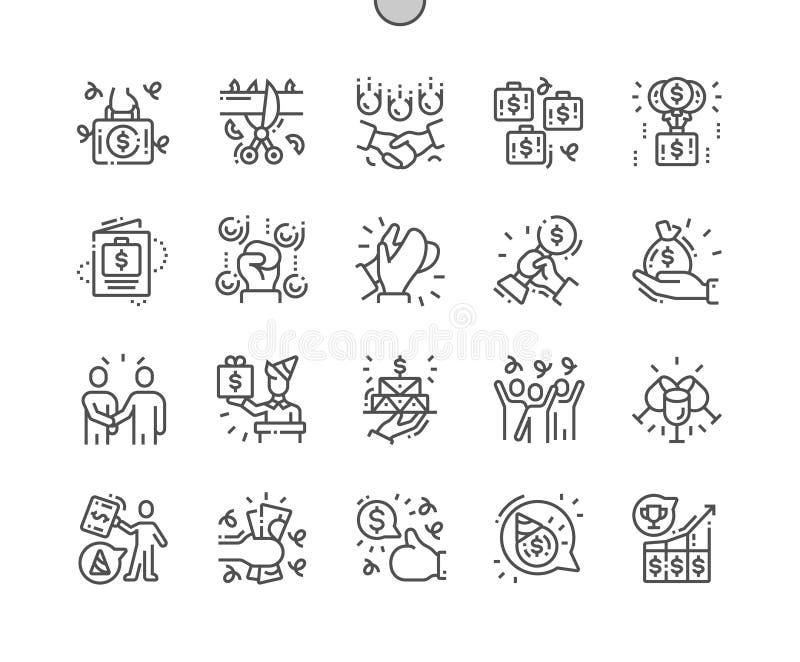 Les célébrations d'affaires Bien-ont ouvré la ligne mince icônes de vecteur parfait de pixel illustration stock