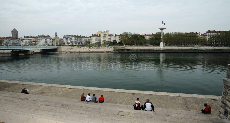 Les côtés du Rhône à Lyon images libres de droits