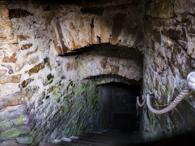 Les cachots où les sorcières de Pendle ont été tenues dans le château de Lancaster et l'ancienne prison en Lancashire Angleterre photos stock