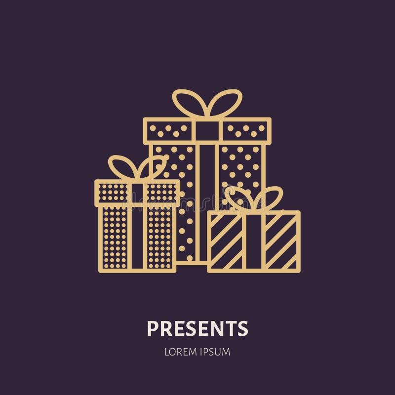 Les cadeaux de Noël, nouvelle année présente la ligne plate de empaquetage icônes Les vacances d'hiver dirigent l'illustration, s illustration libre de droits