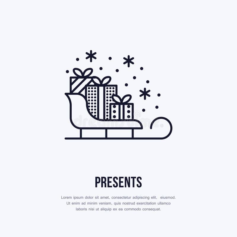 Les cadeaux de Noël sur le traîneau, nouvelle année présente la ligne plate de empaquetage l'illustration de vecteur de vacances  illustration libre de droits