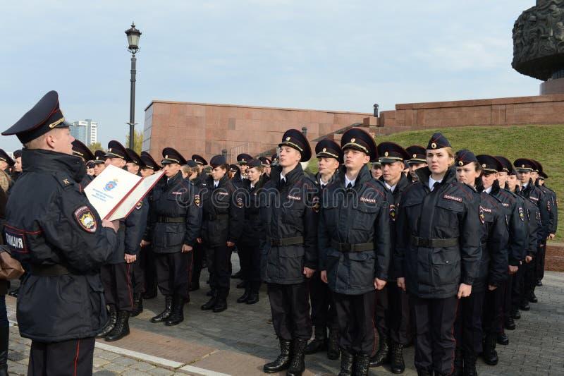 Les cadets de l'université de loi de Moscou du ministère des affaires intérieures de la Russie prennent le serment photographie stock libre de droits