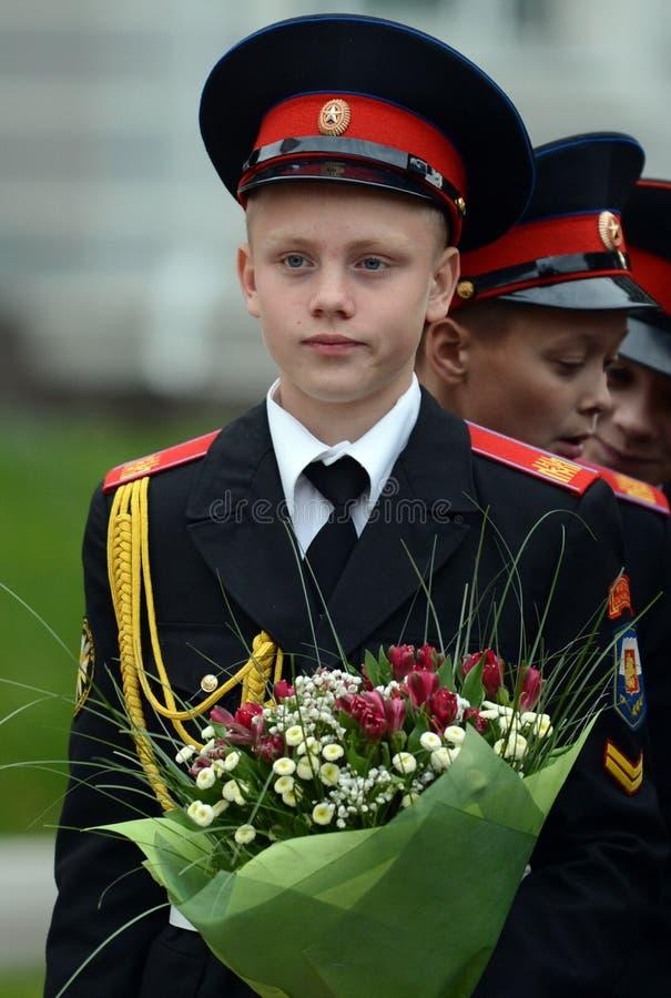 Les cadets des premiers corps de cadet de Moscou photos libres de droits