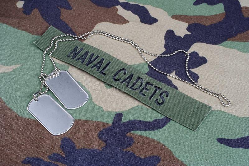 Les CADETS NAVALS des USA s'embranchent bande et les étiquettes de chien sur la région boisée camouflent l'uniforme photo stock