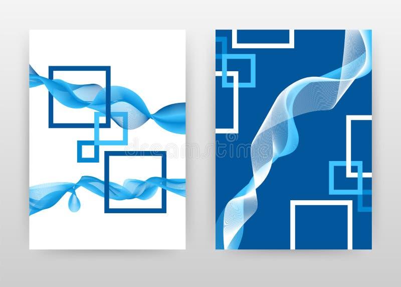 Les cadres blancs bleus avec les lignes ondulées conçoivent pour le rapport annuel, brochure, insecte, affiche Illustration rayée illustration de vecteur