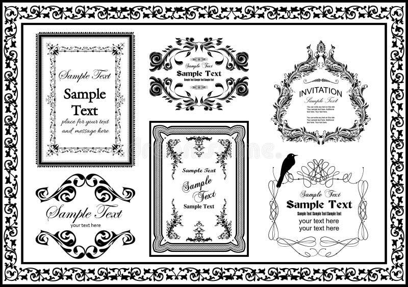 Les cadres décoratifs de cru ont placé la couleur noire illustration libre de droits