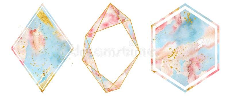 Les cadres d'or d'aquarelle ont placé dans des couleurs douces de rose en pastel et de bleu Forme polygonale de coeur illustration stock
