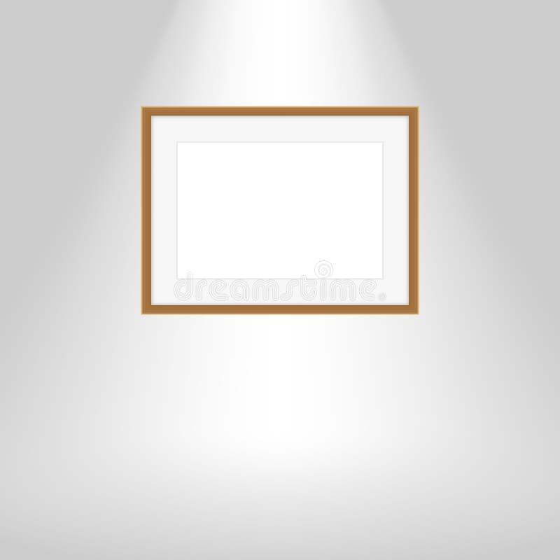 Les cadres en bois sur le mur gris, cadre en bois brun de portrait, faux vers le haut du cadre de tableau de calibre, encadre mig illustration stock