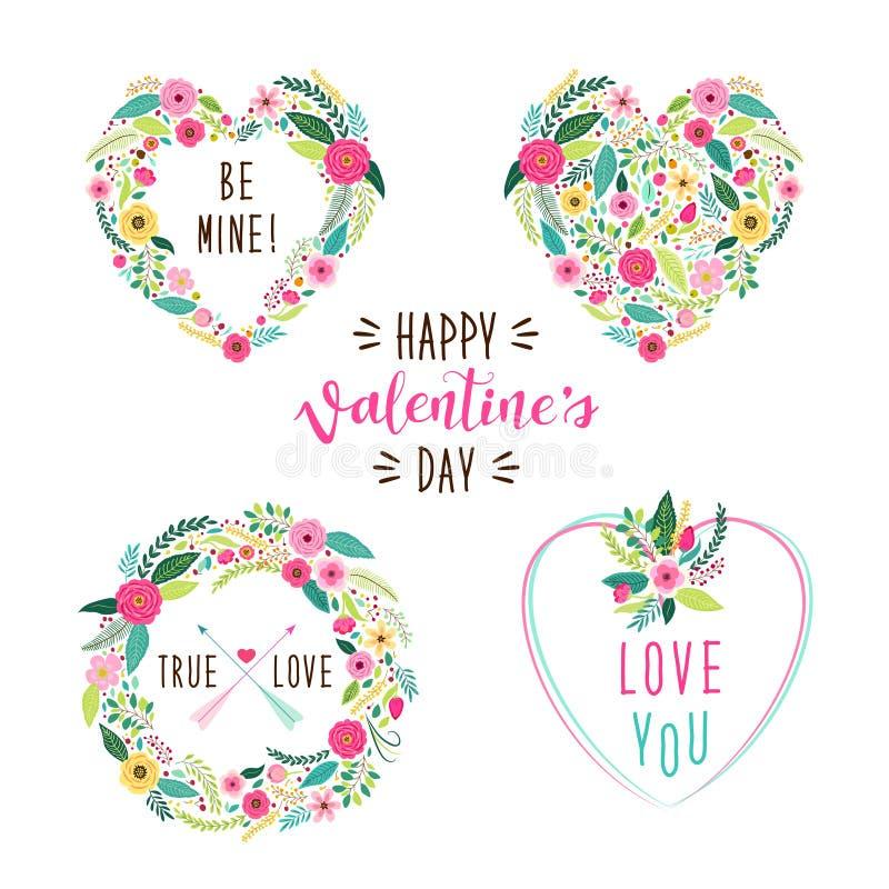 Les cadres mignons de jour du ` s de Valentine de vintage en tant que premier ressort tiré par la main rustique fleurit dans la f illustration de vecteur