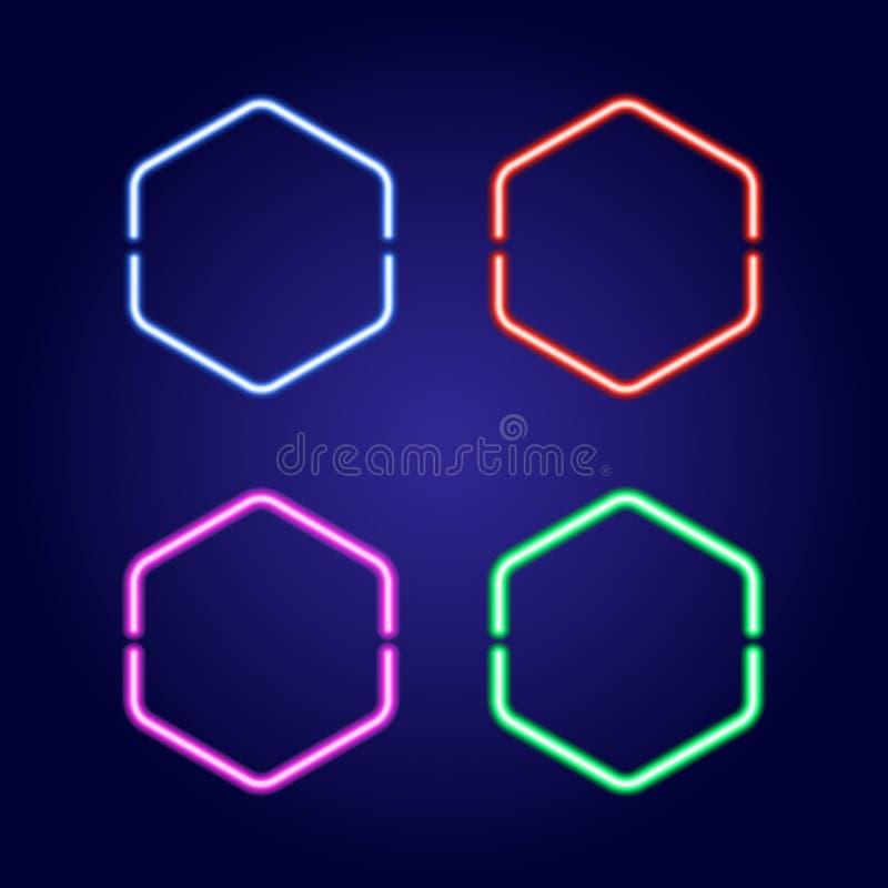 Les cadres rougeoyants au néon hexagonaux dans différentes couleurs dirigent l'illustration illustration stock