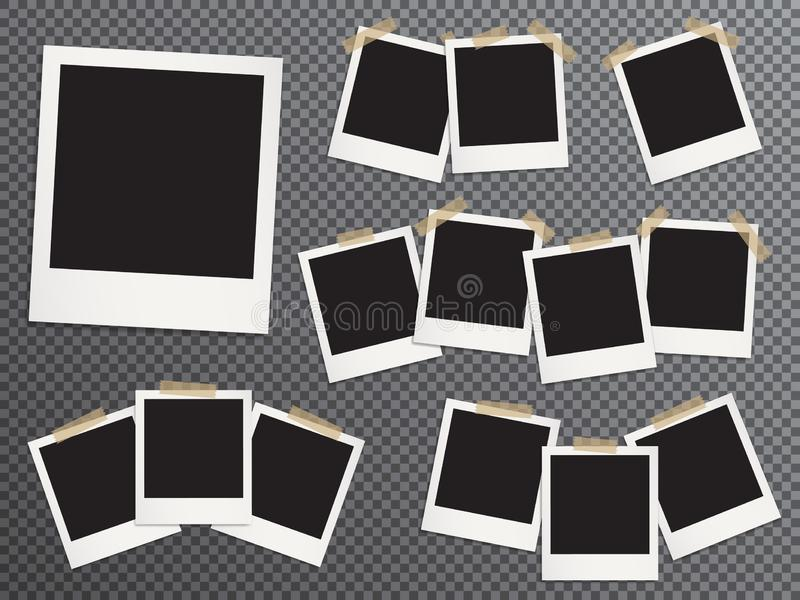 Les cadres vides de photo ont placé accrocher sur le ruban adhésif illustration de vecteur