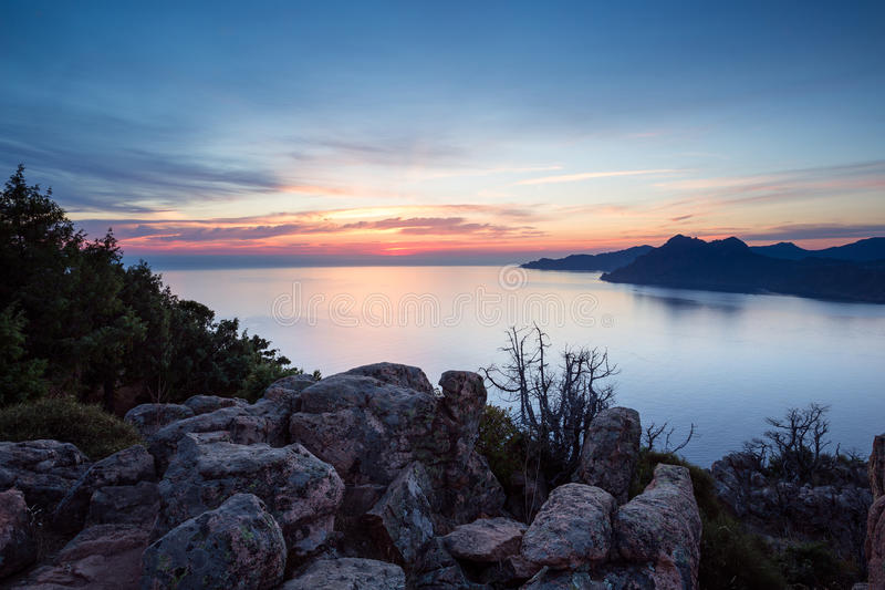 Les calanches de Piana, Corsica, France, at sunset royalty free stock photo