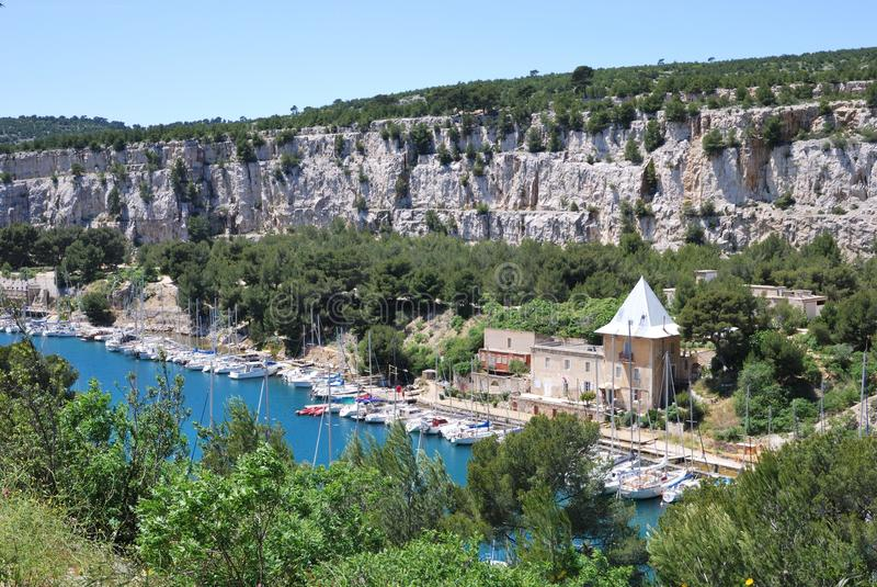 Les Calanques, Haven Miou stock afbeelding