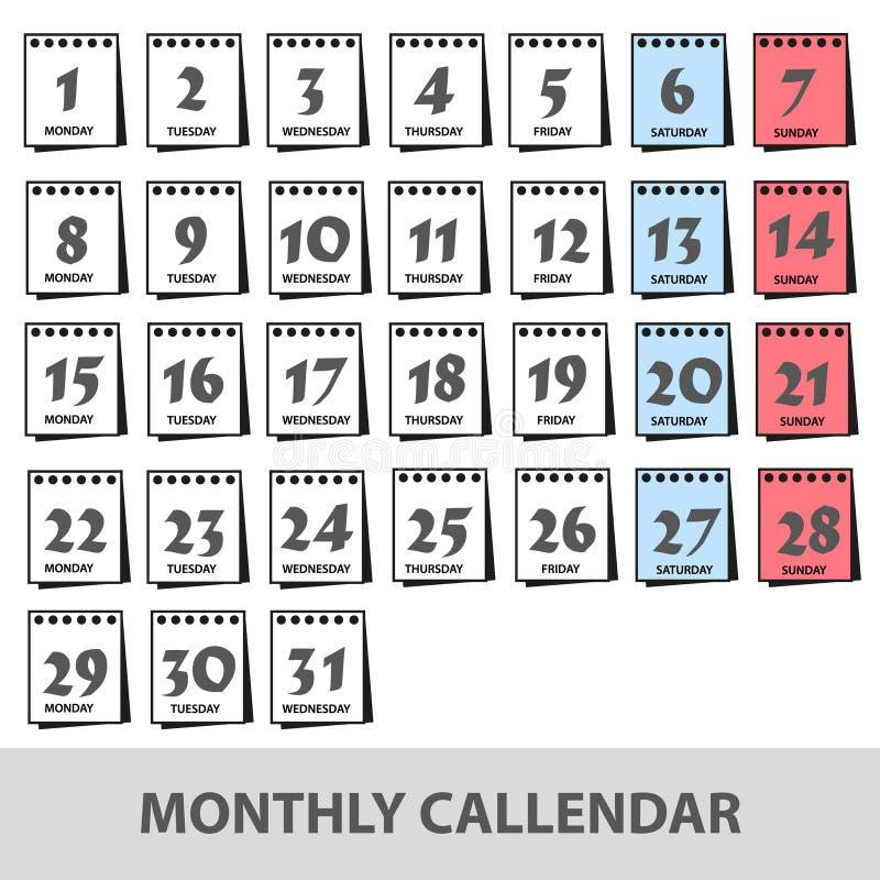 Les calendriers muraux mensuels avec des icônes de jours ont placé eps10 illustration libre de droits