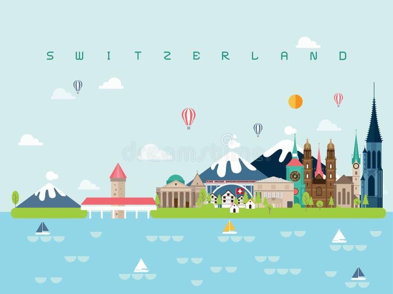Les calibres célèbres d'Infographic de points de repère de la Suisse pour le style et l'icône minimaux de déplacement, illustrati photos stock