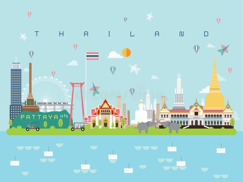 Les calibres célèbres d'Infographic de points de repère de Thailan pour le style et l'icône minimaux de déplacement, illustration images libres de droits