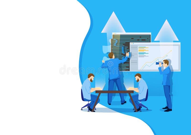 Les calibres conçoivent pour des achats en ligne, l'analytics, le marketing numérique, le travail d'équipe et la stratégie commer illustration libre de droits