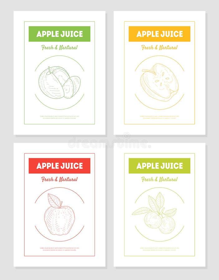 Les calibres de bannières de produit de jus de pomme, frais et naturel emballage placent, savoureux et sains de boissons, label,  illustration de vecteur