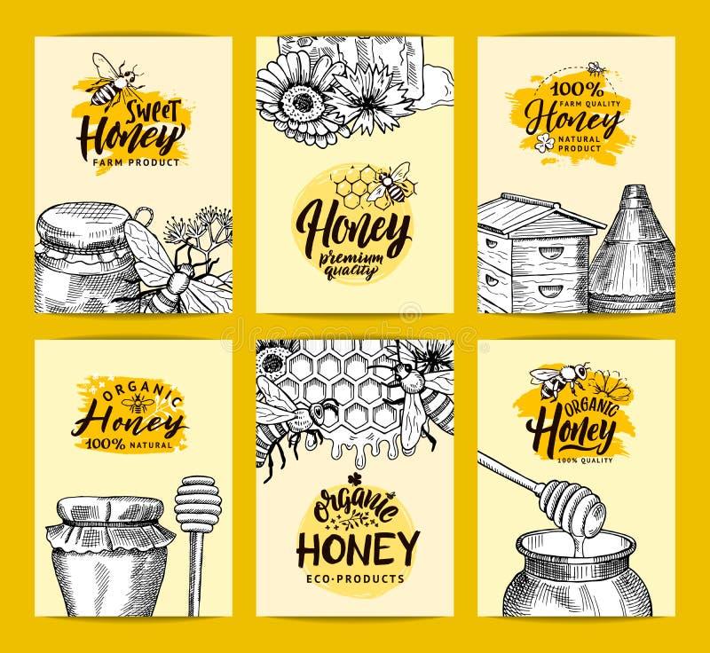 Les calibres de carte de vecteur réglés pour le miel font des emplettes ou ferme avec les éléments contournés esquissés de thème  illustration libre de droits