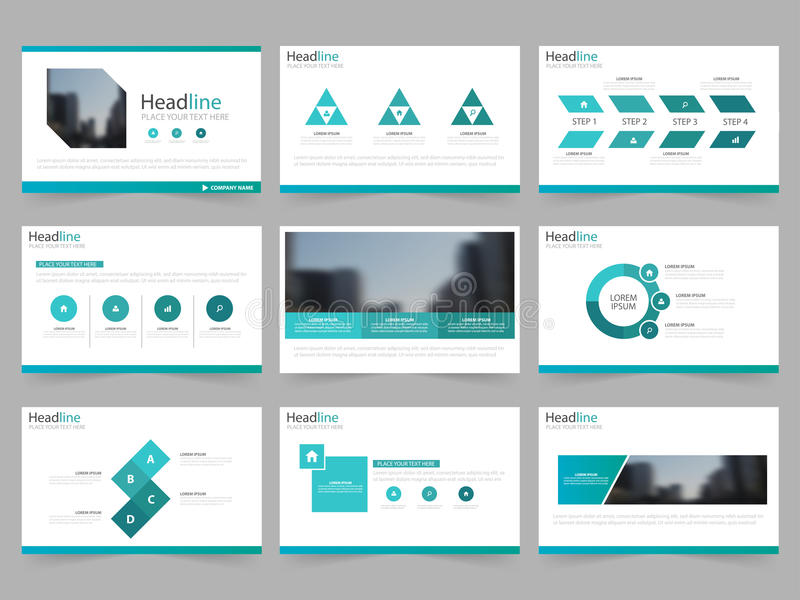 Les calibres de présentation d'abrégé sur vert bleu, conception plate de calibre d'éléments d'Infographic ont placé pour le tract illustration libre de droits
