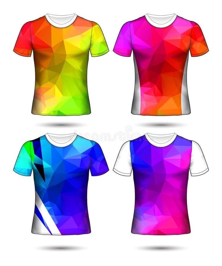 Les calibres de T-shirt soustraient la collection géométrique de Co différente illustration stock