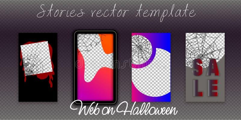 Les calibres Editable d'histoires d'Instagram, Halloween, coulant, créent vos histoires étonnantes, réglées pour les marques et l illustration libre de droits