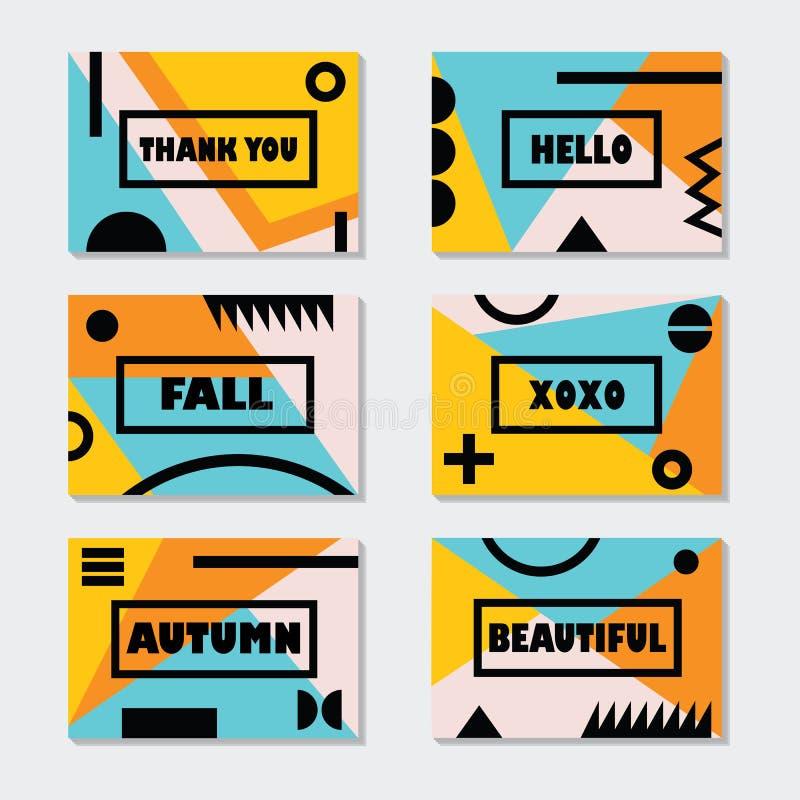 Les calibres modernes de cartes d'automne ont placé avec les messages et les symboles noirs illustration stock