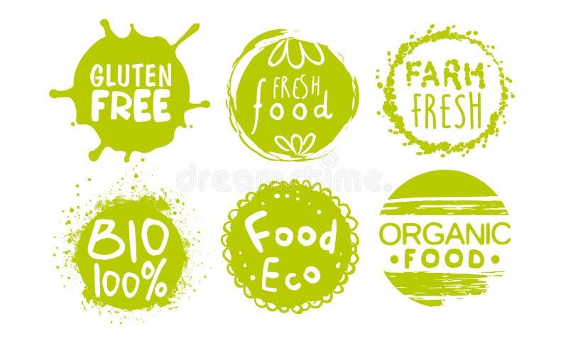 Les calibres naturels organiques sains de labels de nourriture de ferme placent, de bio produits verts d'Eco, gluten les insignes illustration stock