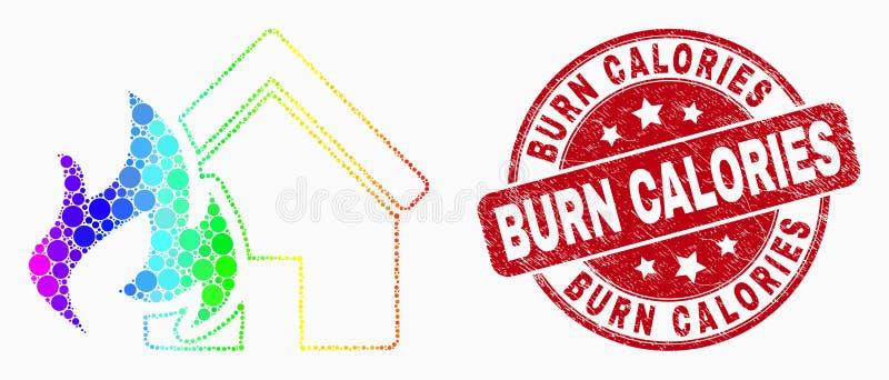 Les calories de brûlure d'icône et de détresse de catastrophe du feu pointillées par spectre de Chambre de vecteur emboutissent illustration libre de droits