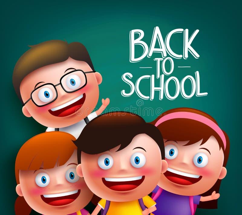 Les camarades de classe badine des caractères de vecteur avec les visages heureux futés pour de nouveau à l'école illustration stock