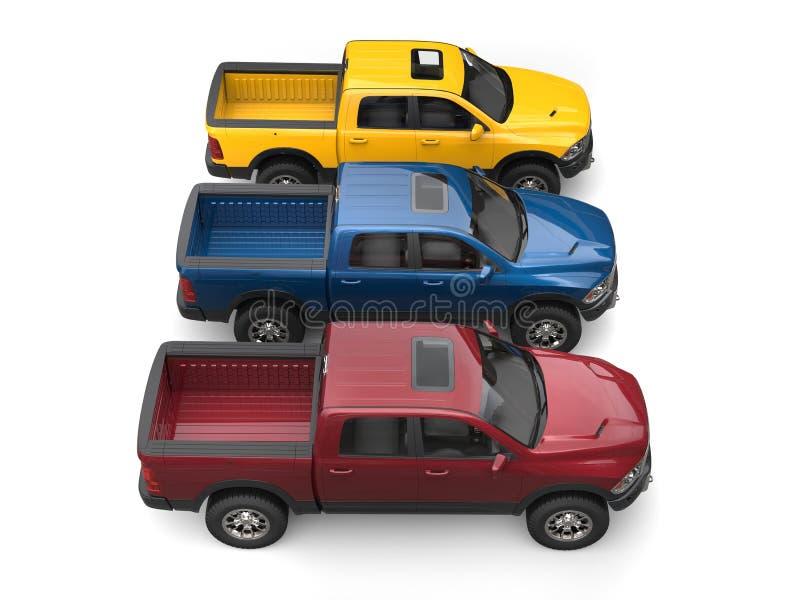 Les camions de collecte modernes rouge foncé, bleus et jaunes - complétez en bas de la vue de côté illustration stock