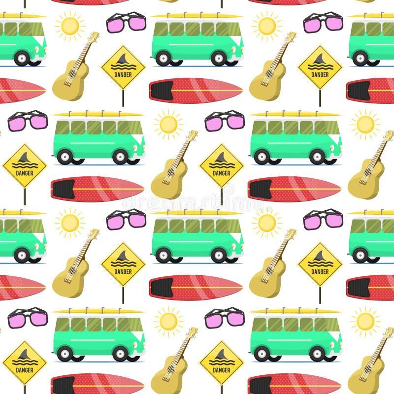 Les campeurs vacation illustration sans couture de vecteur de maison de remorque de vacances de fond de modèle de nature d'été de illustration libre de droits