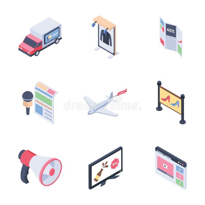 Les canaux de supports publicitaires de Digital ont placé les icônes isométriques illustration de vecteur