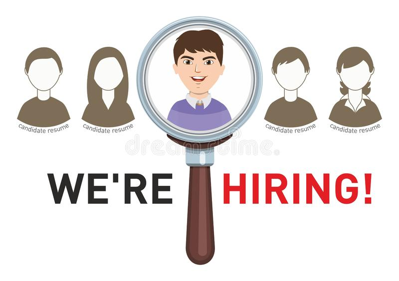 Les candidats recherchent l'offre d'emploi illustration de vecteur