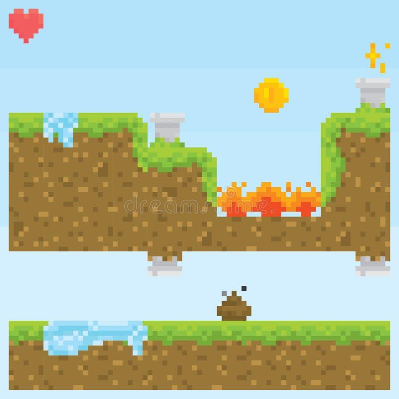 Les capitaux de vecteur de niveau de jeu de style d'art de pixel objectent illustration de vecteur