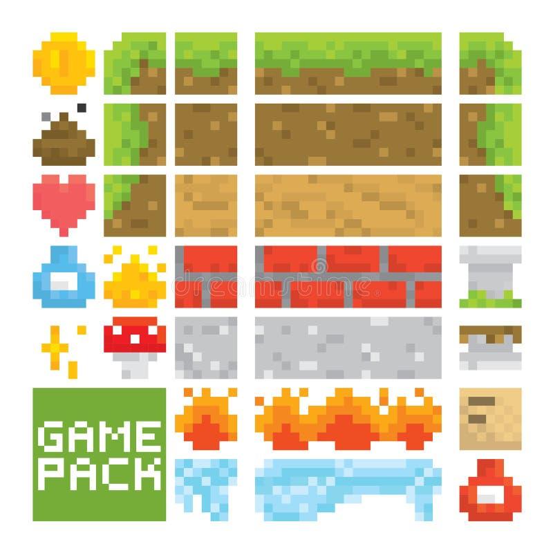 Les capitaux de vecteur de niveau de jeu de style d'art de pixel objectent illustration stock