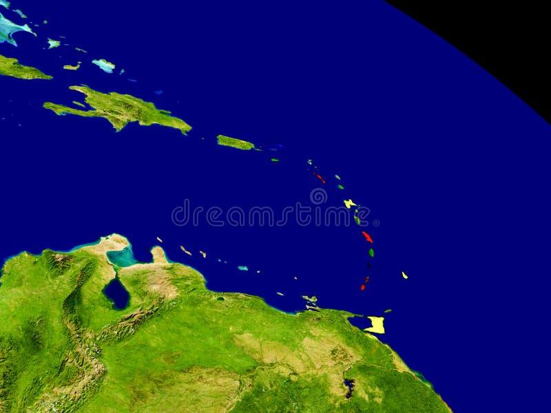 Les Caraïbe avec le drapeau sur terre illustration de vecteur