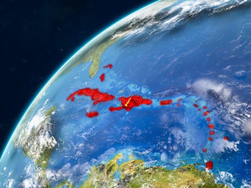 Les Caraïbe sur terre avec des frontières photo stock