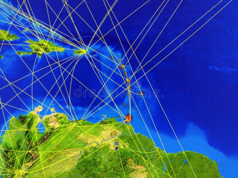 Les Caraïbe sur terre avec le réseau photo stock
