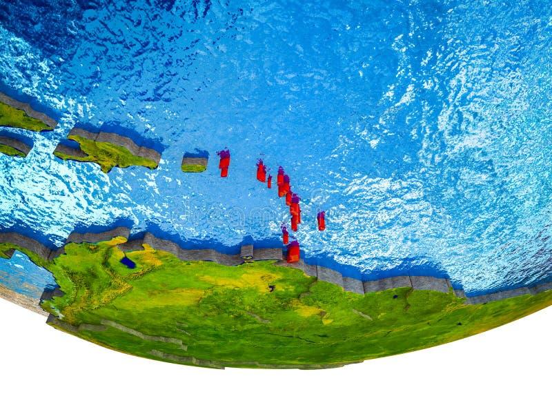 Les Caraïbe sur terre 3D images stock