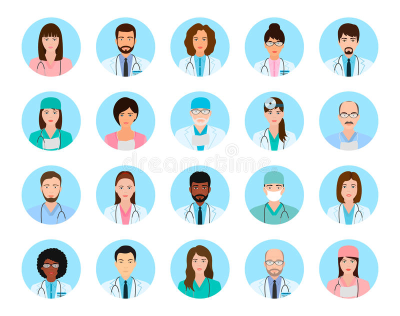 Les caractères d'avatars soigne et des infirmières réglées Icônes médicales de personnes des visages sur un fond bleu illustration libre de droits