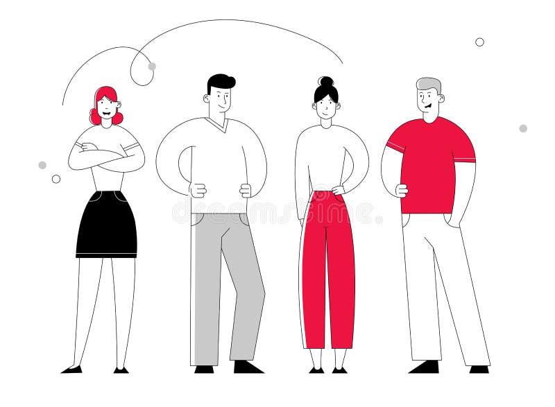 Les caractères d'hommes d'affaires se tiennent ensemble Les hommes d'affaires et l'équipe joyeuse de directeurs de femmes d'affai illustration stock