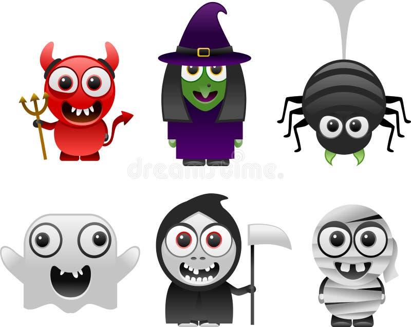 Les caractères de Halloween ont placé 1 illustration libre de droits