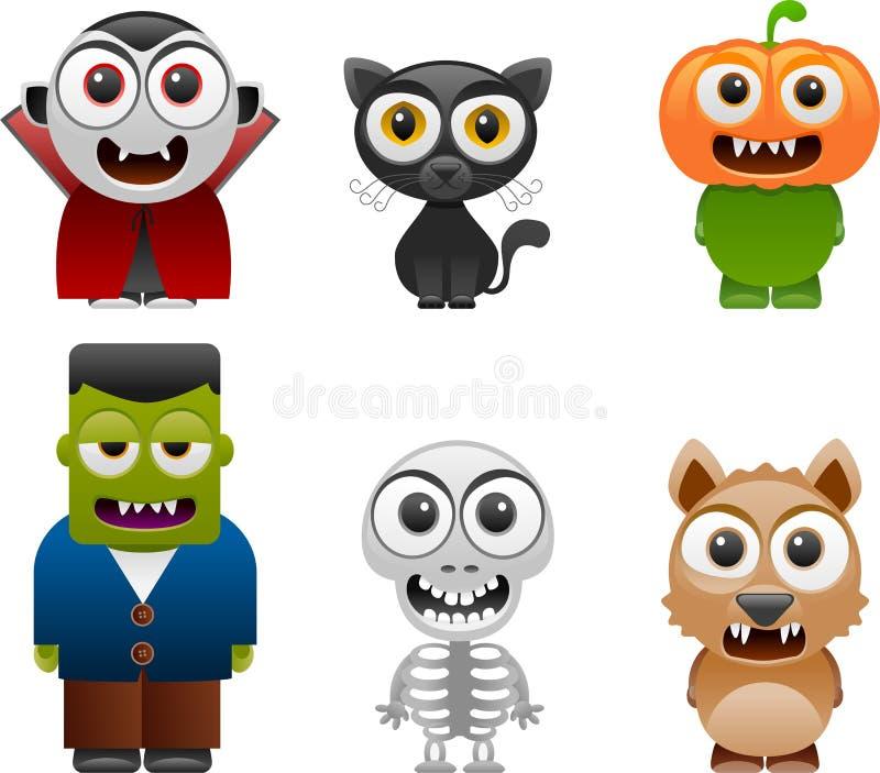 Les caractères de Halloween ont placé 2 illustration libre de droits