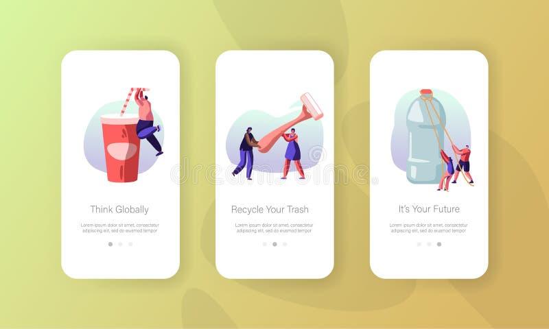 Les caractères de personnes emploient la page mobile d'appli de conditionnement en plastique à bord de l'ensemble d'écran Emballa illustration de vecteur