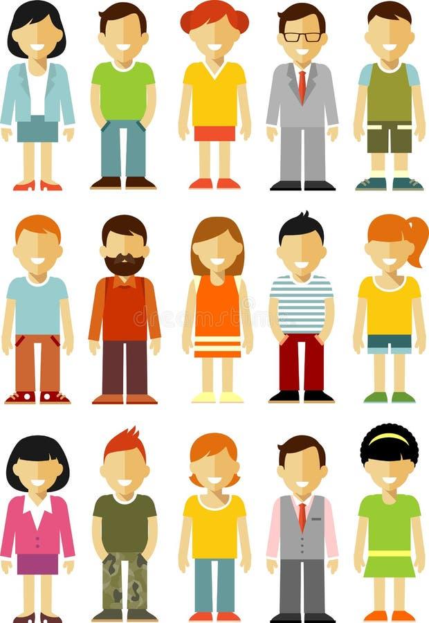 Les caractères de personnes tiennent l'ensemble dans le style plat d'isolement sur le fond blanc illustration stock