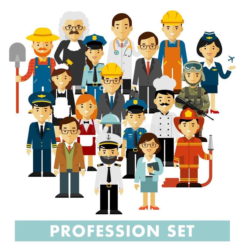 Les caractères de profession de personnes ont placé dans le style plat d'isolement sur le fond blanc illustration libre de droits